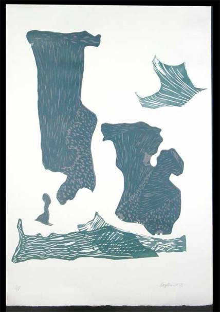 Heidi Bergstrom, multi-shape lino block print, 1985